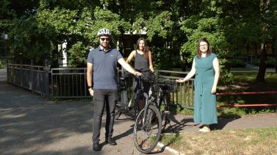 Gemeinsam im Einsatz für das Stadtradeln: Chris Sommer, Susanne Maske und Nina Kraus
