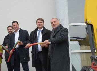 Auf dem Bild von links: Die Ortsvorsteher Thorsten Wetzel und Aaron Treut, Oberbürgermeister Martin Wolff und Wolfgang Ruh, BBV